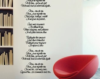 Wall Vinyl Decal Non, Je Ne Regrette Rien song lyrics by Edith Piaf.
