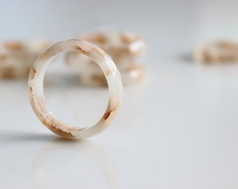 Resin Ring Ivory - resin faceted stacking ring, gold flakes, ecru, light beige