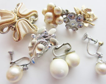 Harvest Shabby Chic Vintage Jewelry lot for Repair. Silver pearls 8 pieces (3014)