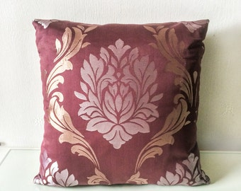 Brown & Silver Luxury Damask Pattern Cushion Throw Pillow Cover 16x16 or 18x18 inches