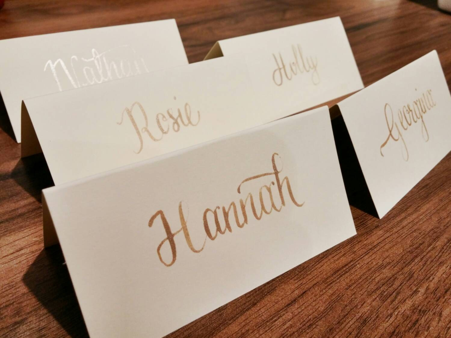 Wedding place card calligraphy