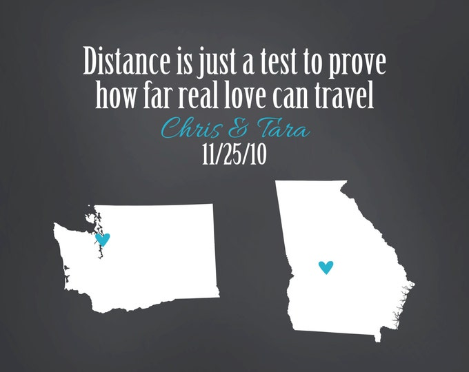 Long Distance Relationship Gift for Boyfriend, Fiance, Husband, Distance Is Just A Test Mileage Between Us State Art Print 8x10 Custom Map,