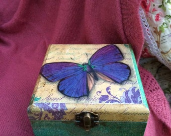 Butterfly Box. Wooden Decoupage Box. Shabby chic Box. Handpainted Box. Butterfly  Turquoise Box. Box for jewelry. Handmade Decoration