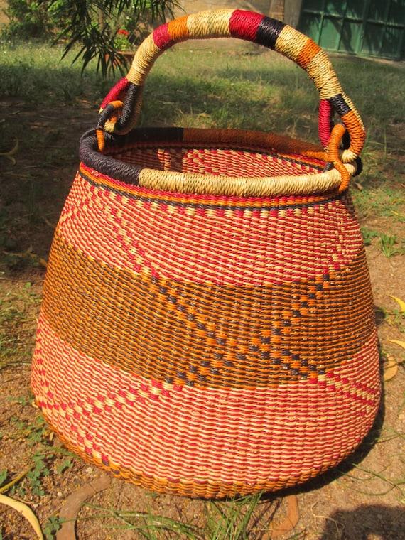 Handmade Baskets From Africa : African straw basket handmade pot ecofriendly