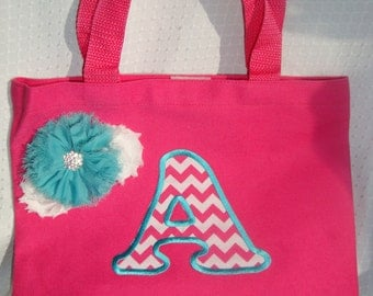 Kids Canvas Tote, Personalized Bag, Girls Pink Tote with Chevron Name Initial, Applique Monogram Kids Tote, Velcro Closure, Shabby Flowers