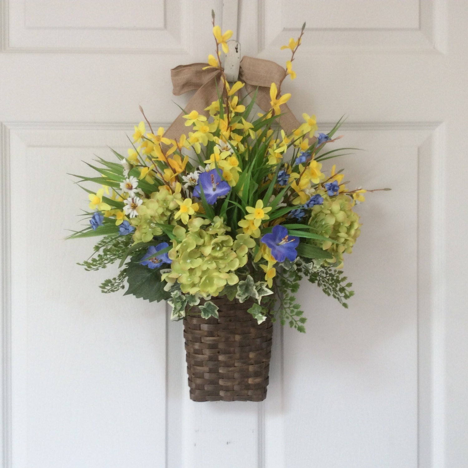 Front Door Baskets: Spring Wreath-Spring Door Basket-Summer Wreath-Spring Flower