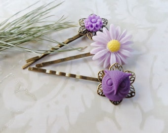 Lavender Daisy And Purple Owl Hair Clips