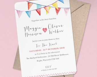 Watercolour Bunting Wedding Invitation - Bunting Wedding Invitation - Sample Pack or Deposit - Wedding Invitations by Pineapple