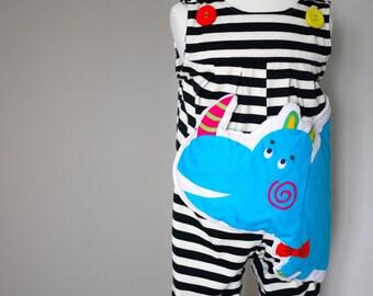Cute Rhinoceros Pocket Overalls