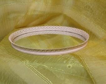154 - Vintage -Filagree - Vanity  Tray - Mirror - Metal - Wedding - Pale Pink