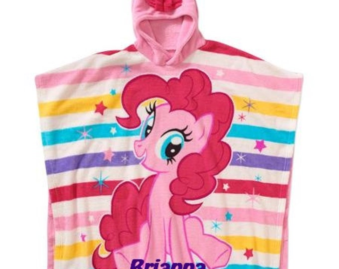 Girls Pony Blanket Super Soft Plush Fleece Hooded Poncho Blanket, Personalized