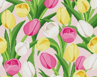 "Cross stitch pattern ""Pillow - Tulips"""