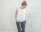 Charcoal / warm black linen pants /  women linen trousers