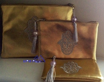 SALE-Metallic silver or gold makeup bags- Set of 3
