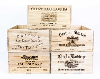 An exclusive set of five (5) different Saint-Emílíon Grand Cru French Wooden Wine Crates