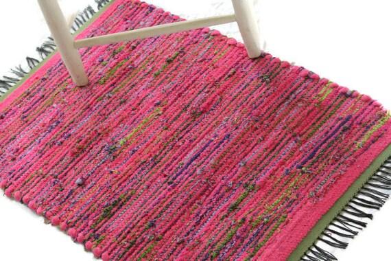 recycelter baumwolle rag rug loom gewebte teppich rosa. Black Bedroom Furniture Sets. Home Design Ideas