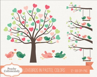 BUY 2 GET 1 FREE Lovebirds Clipart in Pastel Colors - Love birds clip art - Love bird on branch & tree wedding clipart, Commercial Use ok