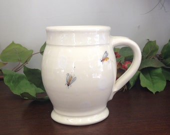 Handmade Honey Bees Rounded Earthenware Mug