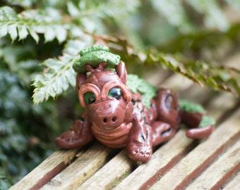 Woodland cutesy dragon handmade polymer clay figure OOAK