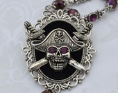 Dead Men Tell No Tales - Amethyst Pirate Crossbones Statement Necklace - Free US Shipping