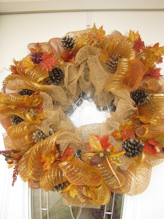 Fall Sale Fall Deco Mesh Wreath Autumn By Prettyhomecreations