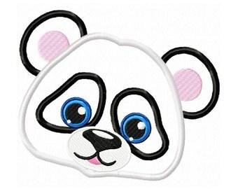Panda Face  Applique Machine Embroidery DESIGN NO. 391