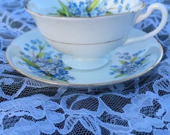 Royal Grafton Blue Floral Teacup