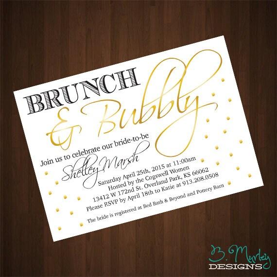 Brunch & Bubbly Bridal Shower Invitation Printable