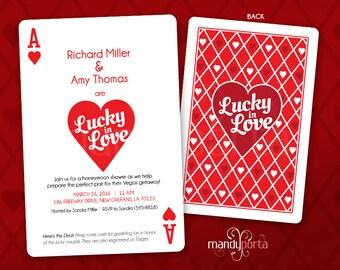 Las Vegas Wedding Bridal Shower DIY Digital Printable Invitation, Honeymoon Shower, Casino Theme, Playing Card