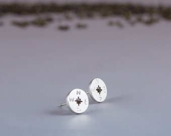 Compass Earrings, Sterling Silver Compass Stud Earrings, Compass Earrings in Silver, Travel-Inspired Earrings, Silver Compass Stud Earrings