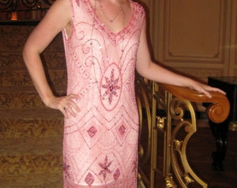 1920s Style Dusty Pink Beaded ROSE Flapper Dress- S, m, l, xl, or Plus sizes