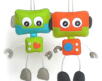 Smiley Robot-PDF sewing pattern-Cute Robot toy-DIY-Handmade plush-Felt toy pattern-Instant download-Boys present