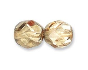 Czech Fire Polished 6mm Facet Rounds - Mirror/Metal Apricot - 25 Beads