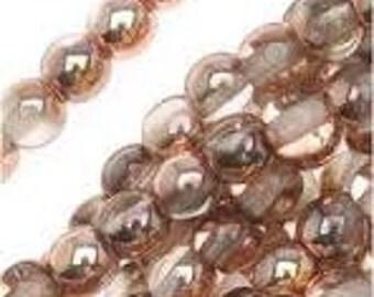 Czech Glass Druk 8mm - Pack 20 Beads - Apollo Gold