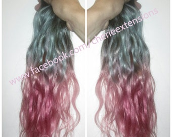 Balayage Dip Dye 8A Remy Human Hair Full Head  100% Human Weft Extensions Grey and Pink Ombre Dip Dye Balayage