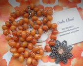 Flower Necklace with natural round orange Beads, Summer, Evening , Wedding, Graduations gift, Spring, Valentine, Anniversary,