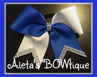 Royal blue and white tic tock cheer bow with Bling!