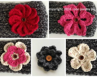 Crochet Button On Flower Collection - PDF CROCHET PATTERNS