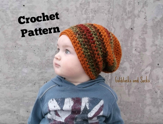 Crochet Slouchy Hat Pattern For Child : Crochet hat pattern slouchy beanie pattern instant download