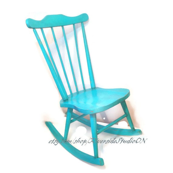 items similar to teal child 39 s rocking chair shabby chic. Black Bedroom Furniture Sets. Home Design Ideas