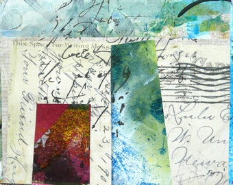 "Original small collage art ""Franked Script"" 11.5cm x 11.5cm in window mount 23cm x 23cm"