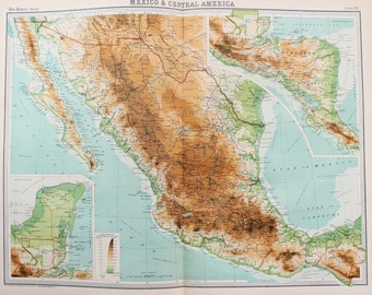 Huge 1922 Antique Map, Mexico & Central America