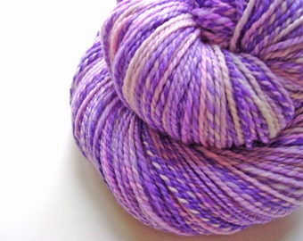 Lilac and Lavender 01--Hand Spun Hand Dyed Merino Wool, 2 ply, 4oz, 308 yards