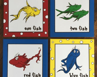 """One Fish, Two Fish, Red Fish, Blue Fish inspired by Dr. Seuss: Set of 4 canvases - each 12"""" x 12"""""""