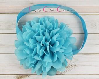 Blue Turquoise Headband, Turquoise Headband, Baby Headband, Flower Girl Headband, Newborn Headband, Wedding Headband, Toddler Headband