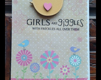 Girls are giggles and freckles Birthday card