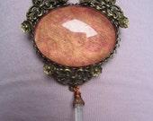 collier bronze elfique nature fée cristal quartz fleur cabochon verre cuivré orangé
