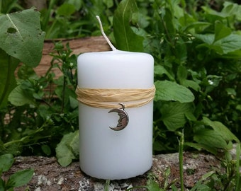 Esbat candle, New Moon candle, moon ritual, wicca altar candle, moon magic, womens magic, wiccan rituals, altar decor, pagan altar kit,
