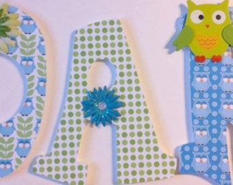 wall letters, wood letters, baby nursery letters, hanging wall letters girls room letters, owl theme letters, green and blue letters