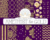 """Purple digital paper: """"AMETHYST & GOLD"""" with purple and gold background, purple scrapbook paper, gold patterns, gold damask for scrapbooking"""